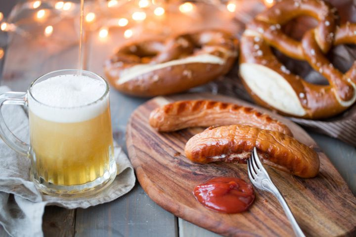 Bavarian sausages with Bretzeln and beer.