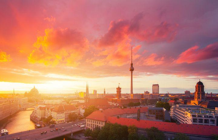 The beautiful Berlin skyline at sunset.