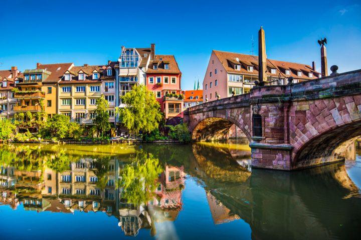 Nuremberg, an idyllic old town on the Pegnitz River.