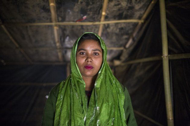 Someda Begum (22), one of the women who was raped by Myanmar armed forces members, takes shelter at Leda...