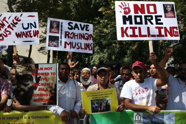 Muslim Americans stage a protest against violence towards Rohingya Muslims in Myanmar's Rakhine state...