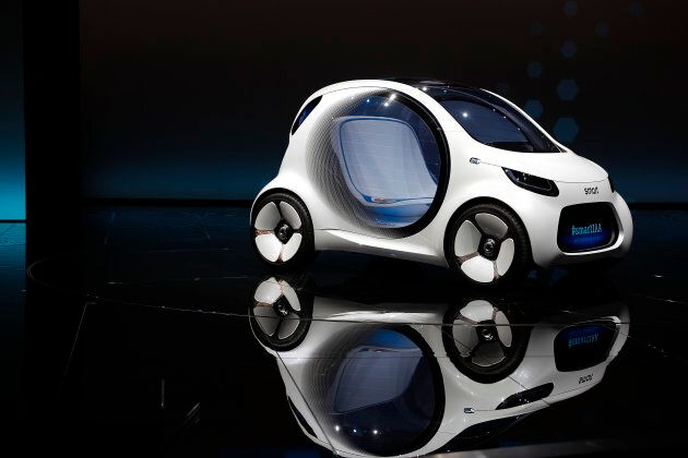 The Smart concept autonomous car Vision EQ fortwo model is presented during the Frankfurt Motor Show...