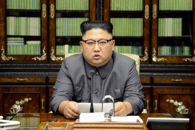 North Korea's leader Kim Jong Un makes a statement regarding U.S. President Donald Trump's speech at...