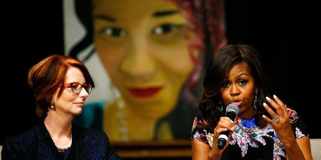 Julia Gillard with U.S. First Lady Michelle Obama