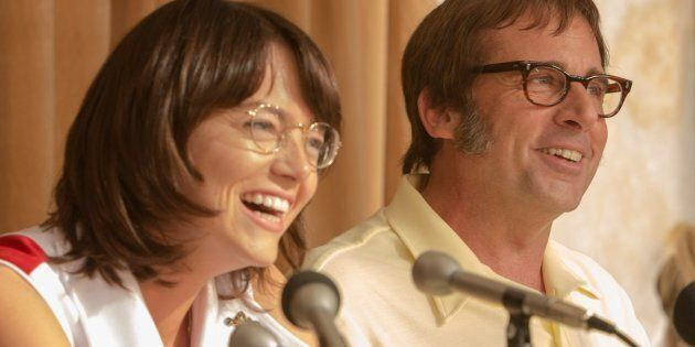 Emma Stone as Billie Jean King and Steve Carell as Bobby Riggs in 'Battle of the