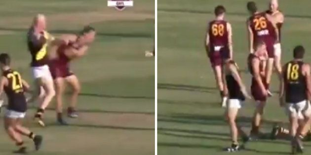 Barry Hall Punches Two Players In QLD Aussie Rules