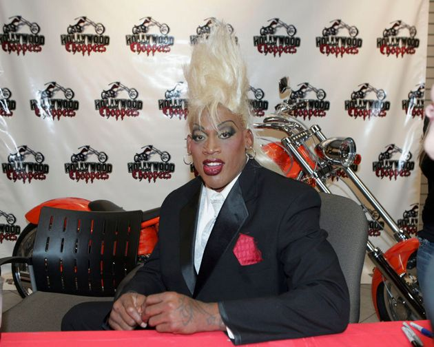 Dennis Rodman signs copies of his new book 'I Should Be Dead By Now' inside Hollywood Choppers at Seminole...