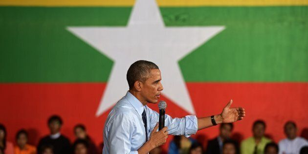 Former US President Barack Obama speaks at a Young Southeast Asian Leaders Initiative (YSEALI) town hall...