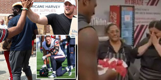 JJ Watt (left) and Deshaun Watson (right) have taken an active role in getting Houston flood victims...
