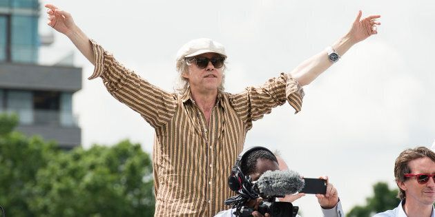 Bob Geldof chases Nigel Farage on the