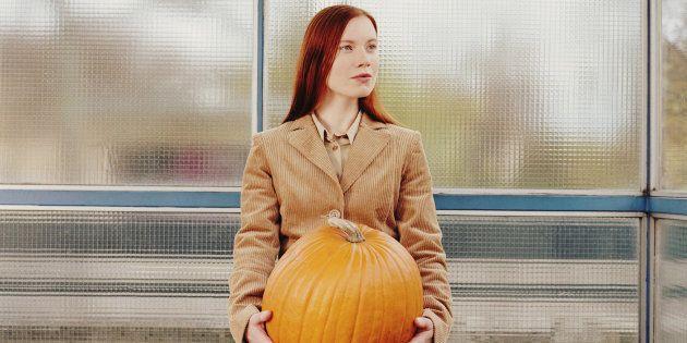 No, I haven't hidden a pumpkin under my shirt. I'm