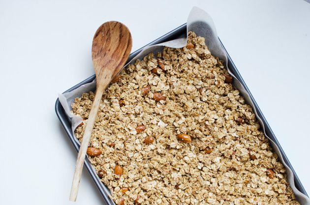 Now your granola is ready for the oven. Warning: the smell that will fill your house is