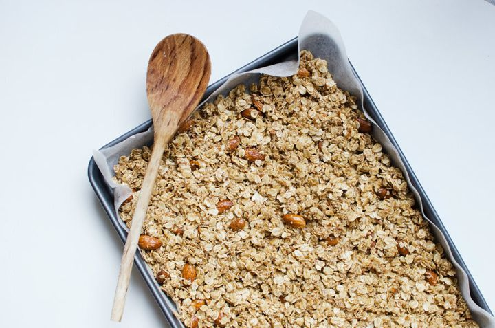 Now your granola is ready for the oven. Warning: the smell that will fill your house is heavenly.