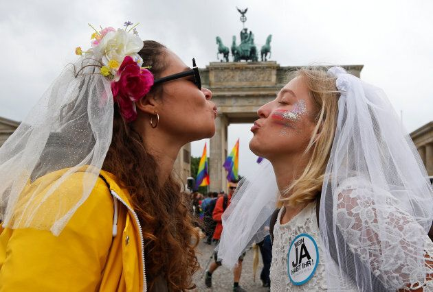 Marriage equality supporters celebrated the same-sex marriage law passing in