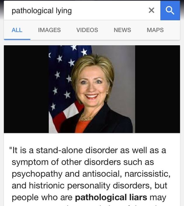 Google Search Results Call Clinton 'Pathological'
