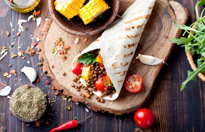 Salad wraps or sandwiches are a good work lunch option which take under five minutes to make.