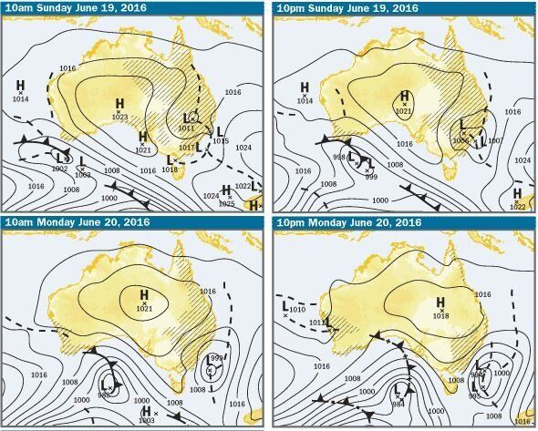 A low pressure system (the big L) generally brings rain, but this one's not as gnarly on the charts as...