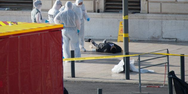Crime scene of Marseille's attack in Front of the Gare Saint Charles Train station, after a man armed...
