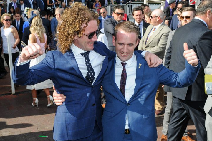 Ciaron Maher and his younger brother Declan after THAT Caulfield Cup win.