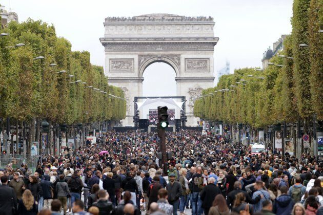 A rare sight -- the Champs-Élysées is taken over by