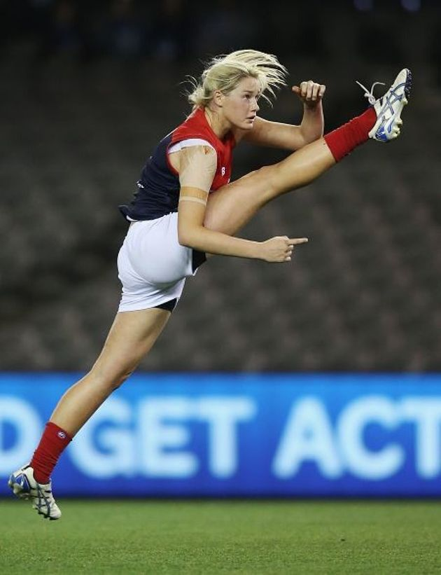 Tayla Harris of the Demons with the most elegant kick
