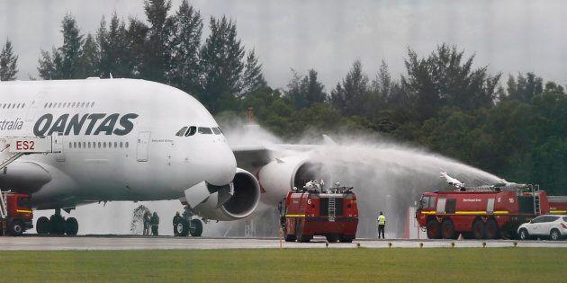 Qantas flight QF32 after landing.