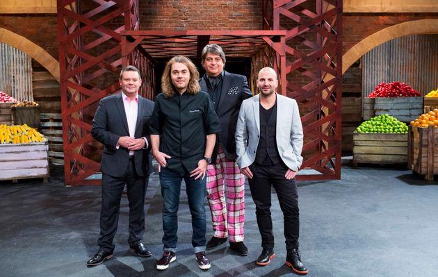 (From left) Gary Mehigan, guest mentor Shannon Bennett, Matt Preston and George Calombaris during season