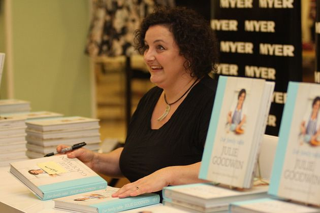 The very first MasterChef Australia winner, Julie Goodwin, with her cookbook 'Our Family Table' in