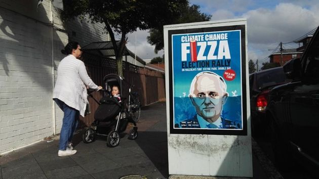 Fizza posters calling for a rally over climate change have popped up around the Wentworth