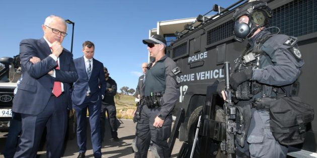 Prime Minister Malcolm Turnbull with the AFP Tactical Response Team.