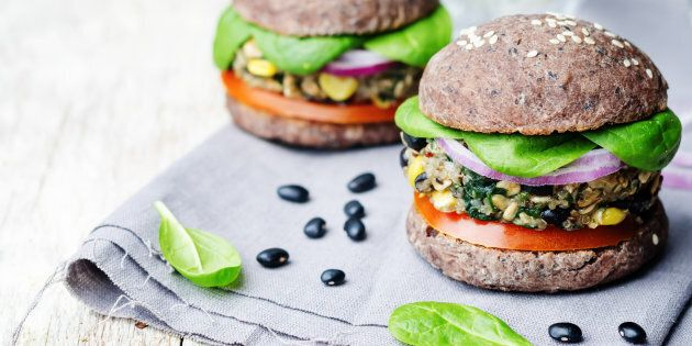 Make veggie burgers and pack them with extra veg. Easy and delicious.