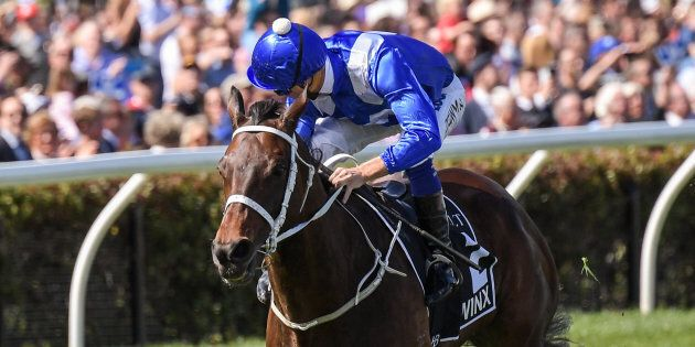 Winx ridden by Hugh Bowman wins the Seppelt Turnbull Stakes at Flemington Racecourse on October 07.