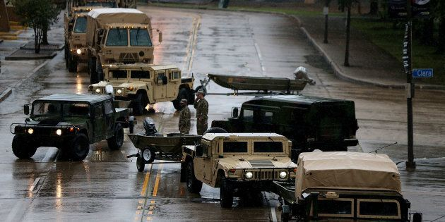 Members of the U.S. National Guard prepare for Hurricane Nate in New