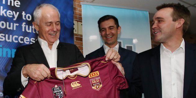 Malcolm Turnbull will hope he can break a historic politics-football hoodoo.