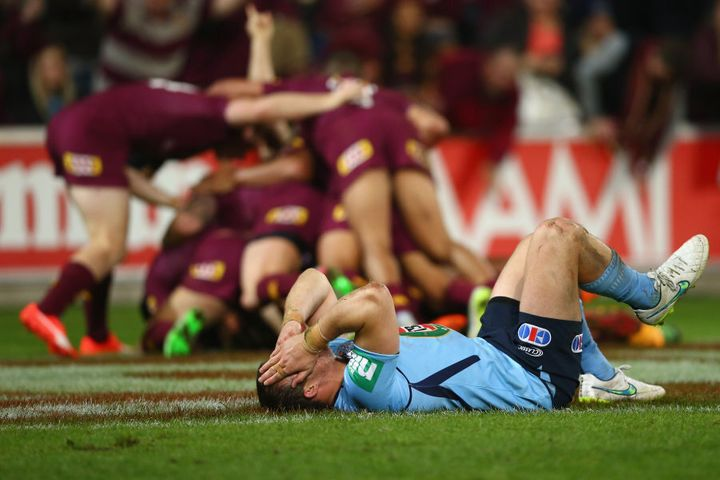 Dejected Blues player during QLD's game one win