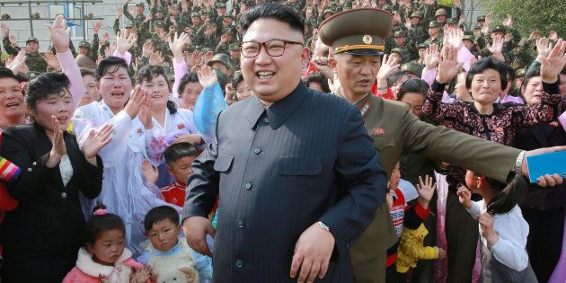 Kim Jong Un inspects defence detachments, as supplied by state