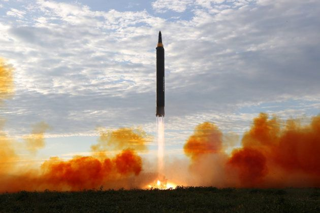 North Korean leader Kim Jong Un (not pictured) guides the launch of a Hwasong-12