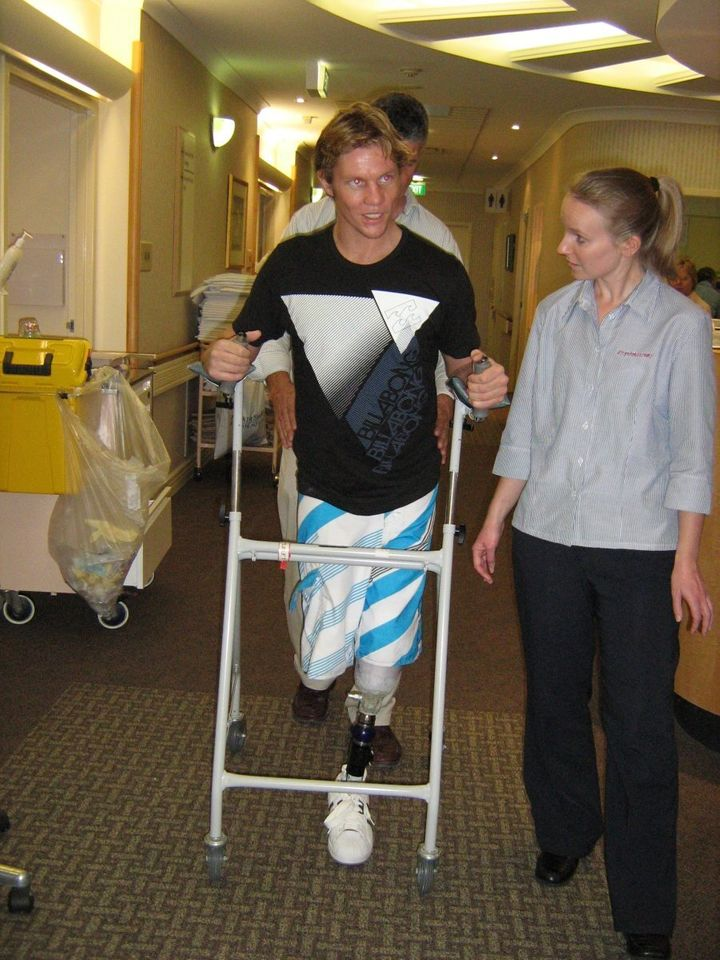 Damien Thomlinson spent weeks in a German hospital recovering.