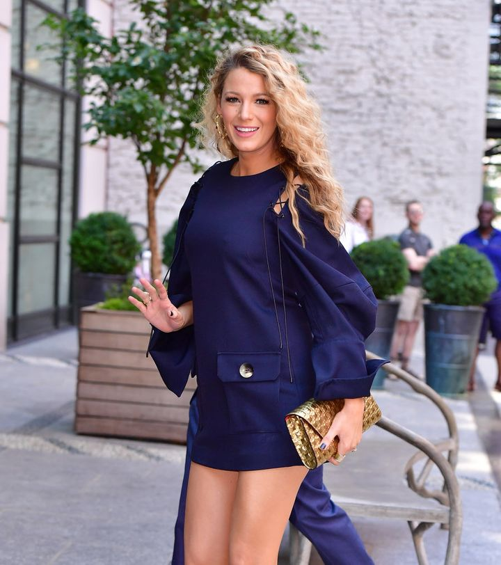 On June 22 Lively hit the streets of Manhattan in a long sleeve navy mini dress. With legs like that we'd wear a mini everywhere.