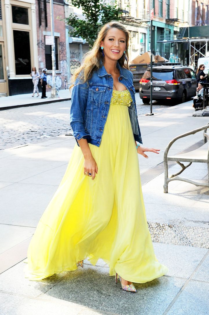 June 20 in Soho, Lively looks ethereal in a floaty yellow maxi paired with a denim jacket and Missoni pumps.