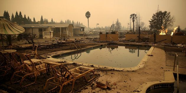 The Journey's End Mobile Home Park in Santa Rosa, California, in the aftermath of the