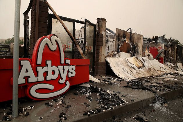 A fire-damaged Arby's restaurant in Santa Rose,
