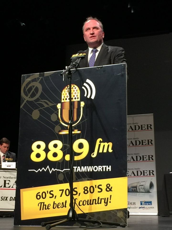 Deputy Prime Minister and National's leader Barnaby Joyce at the addresses the crowd at the Tamworth capitol theatre, telling them the election is about New England and the nation.
