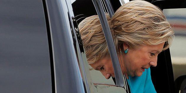 U.S. Democratic presidential nominee Hillary Clinton arrives at the airport in Philadelphia, Pennsylvania,...