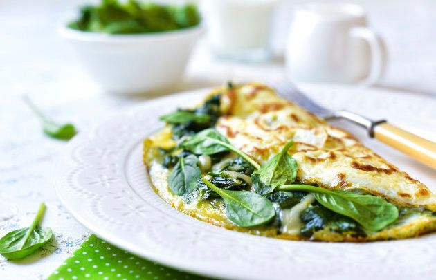 An omelette stuffed with spinach is a great way to start the