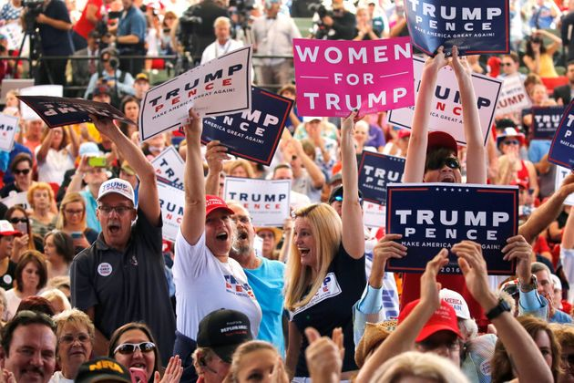 Supporters of Republican U.S. presidential nominee Donald Trump attend a rally in St. Augustine, Florida,...