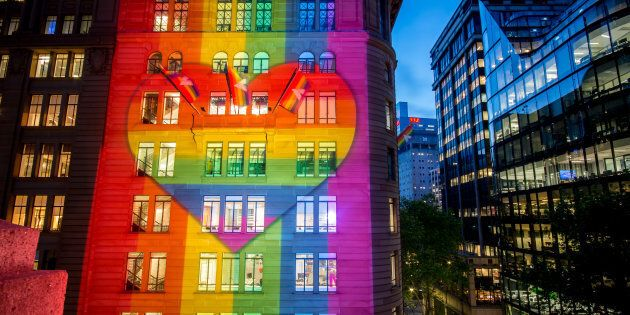 Atlassian's Sydney headquarters have been lit up in support of marriage