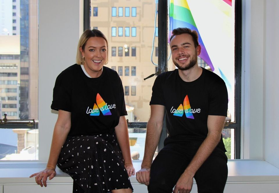 Atlassian staff donning their 'Love is Love'
