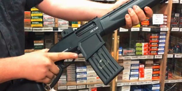 The Pardus LAX 12 MF, in a still from a video posted on a gun shop's Facebook page