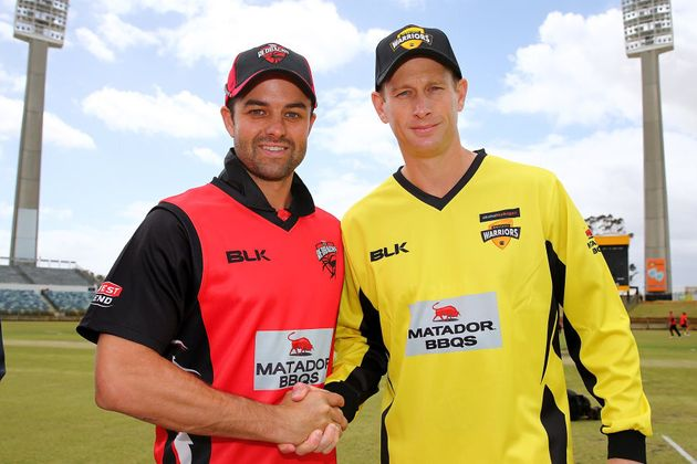 Ferguson, left, with Adam Voges, the man he may replace. The two are pictured at a state One Day match...